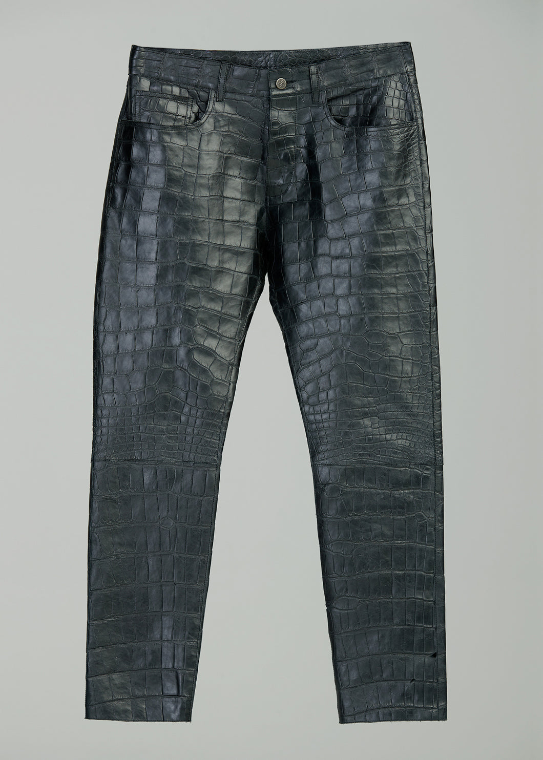 LEATHER JEANS (ALLIGATOR)(BLACK)