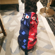 "Load image into Gallery viewer, Bathing Ape ""Bape"" Blue and Red Hoodie for Dogs"