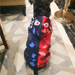 "Bathing Ape ""Bape"" Blue and Red Hoodie for Dogs"