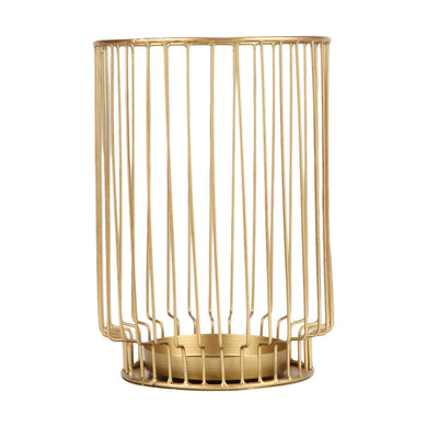 Brass Look Hurricane Candle Holder