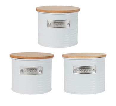 3 White Tin Canisters with Bamboo Lids