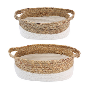 2 Pack Rope and Water Hyacinth Basket