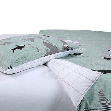 World Map Quilt Cover Set - Single Bed