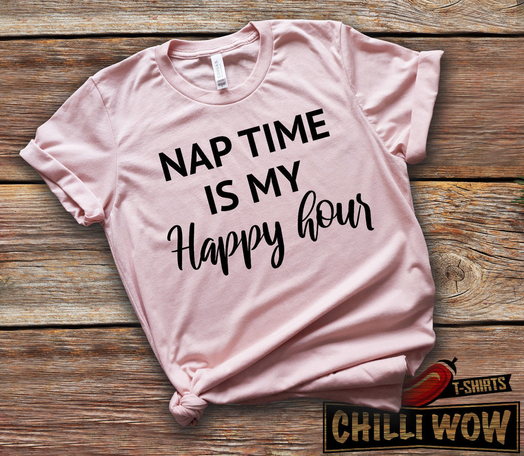 1f7a6858a5 Nap Time is my Happy Hour Peach T-Shirt Funny Parenting Mother's Day Gift