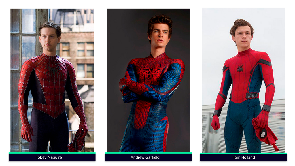 Spiderman por Tobey Maguire, Andrew Garfield y Tom Holland