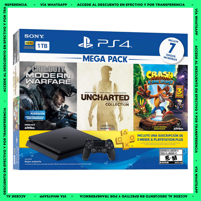 Consola PlayStation 4 Slim 1TB - Mega Pack - Uncharted Collection - Call of Duty MW - Crash Bandicoot - Plus 3 Meses