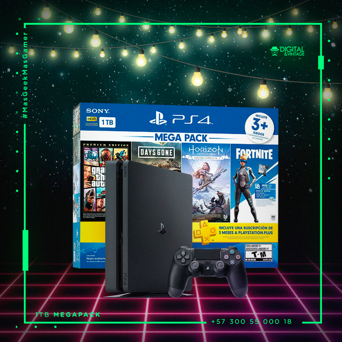 Consola PlayStation 4 Slim 1TB - Mega Pack - Daysgone - GTA V - Horizon Zero Dawn - Plus 3 Meses
