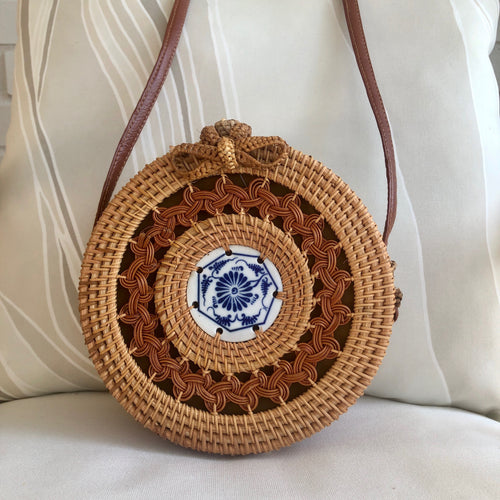 The Chinoiserie Round Rattan Crossbody