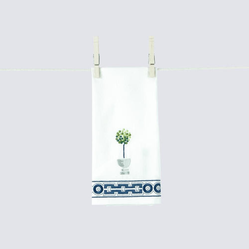 Geometric Topiary Embroidered Hand Towels  - Set of 2