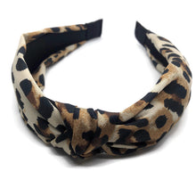 Load image into Gallery viewer, Silk Leopard Scarf Topknot Headband (2 Color Options)
