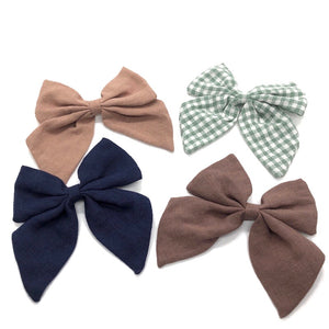 Linen Bow Barrettes (4 Color Options)