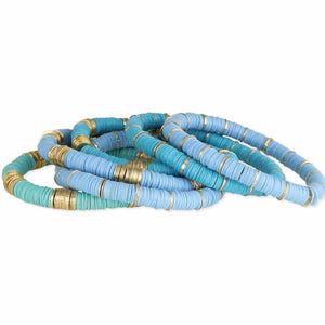 Blues/Turquoise Gold Disc Heishi Bracelets (Set of 6)