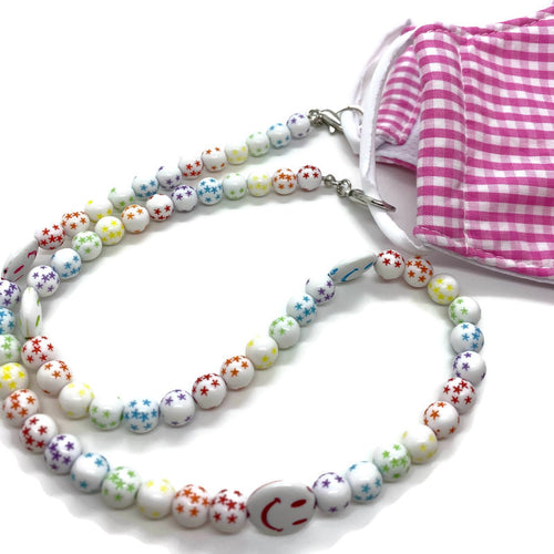 Smiley Face Beaded Kids Face Mask Chain
