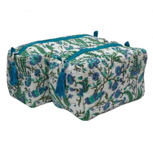 Block Print Cosmetic Bags - Firoza (Set of 2)