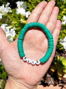 Personalized Heishi Beaded Bracelet (14 color options)