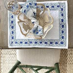 Allie Block Print Cotton Placemat & Napkin Set (Sold Individually)