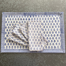 Load image into Gallery viewer, Neem Estate Blue Block Print Cotton Napkins (Sold individually)