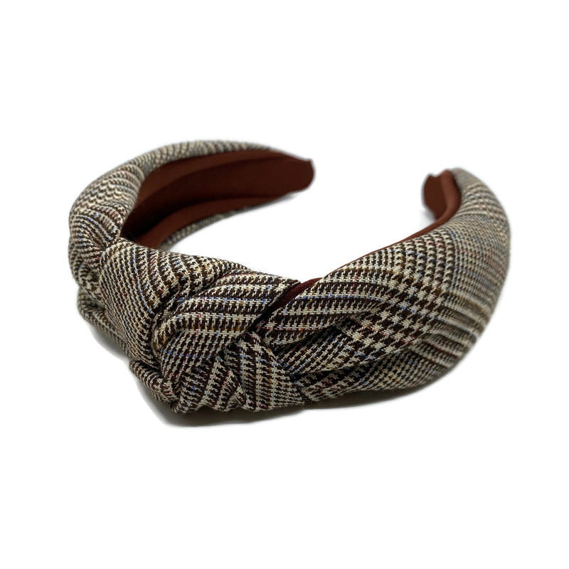 Maroon Glen Plaid Topknot Headband