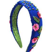 Load image into Gallery viewer, Blue Floral Beaded Embellished Headband