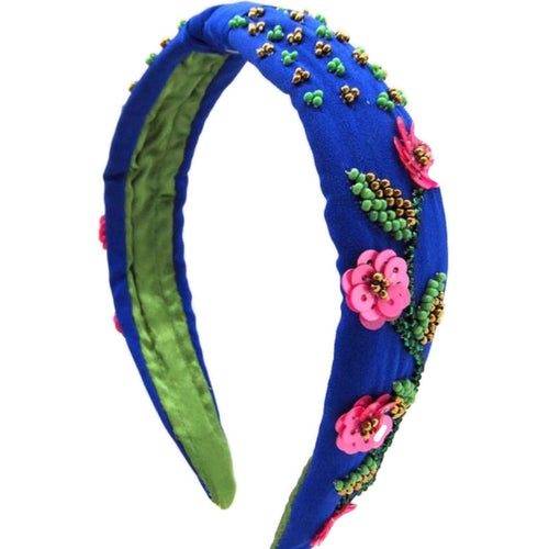 Blue Floral Beaded Embellished Headband