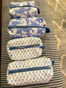 Block Print Cosmetic Bags - Paisley Blue (Set of 2)