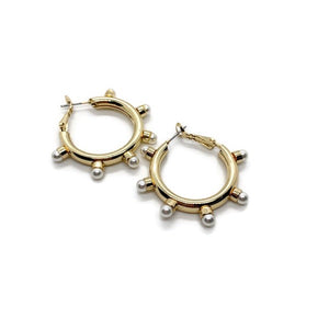 Edgy Gold Pearl Hoops