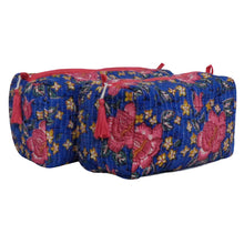 Load image into Gallery viewer, Block Print Cosmetic Bags - Cobalt Blue & Roses (Set of 2)