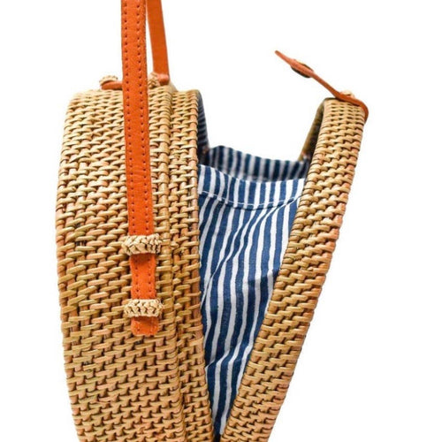 Camilla Rattan Crossbody Bag: Nantucket Stripe