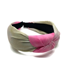 Pink Watercolor Topknot Headband