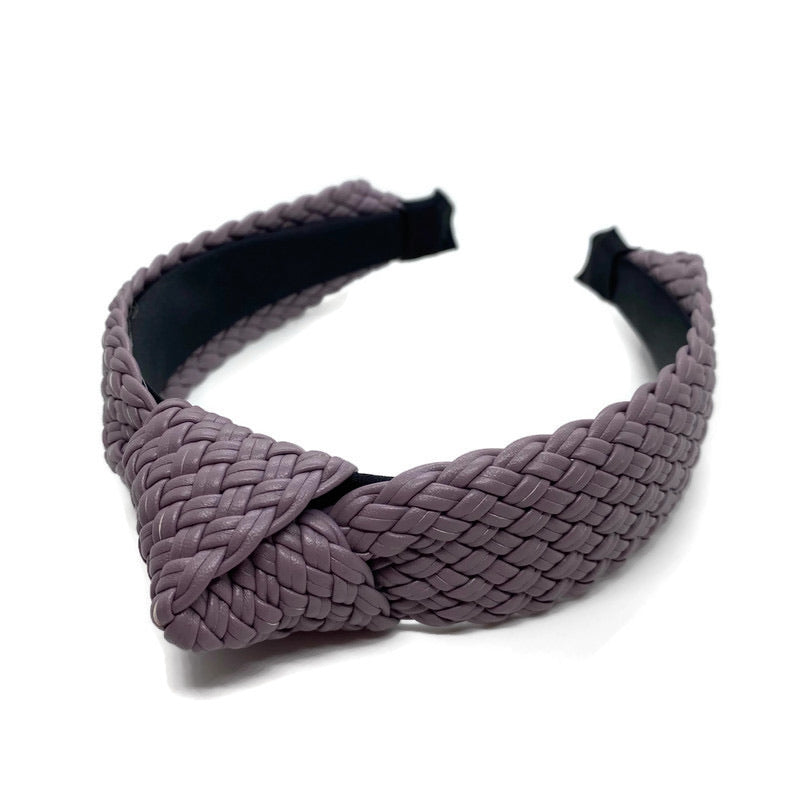 Faux Leather Braided Topknot Headband (3 Color Options)
