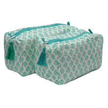 Load image into Gallery viewer, Block Print Cosmetic Bags - Booti Green (Set of 2)