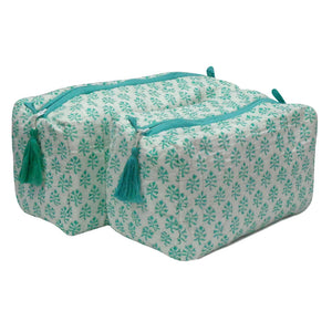 Block Print Cosmetic Bags - Booti Green (Set of 2)