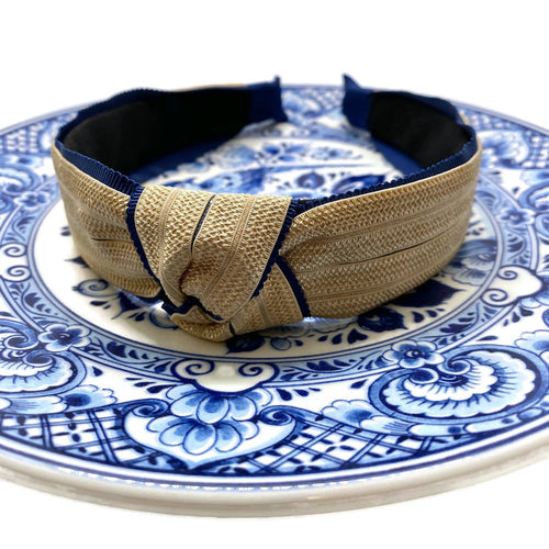 Woven with Ribbon Trim Topknot Headbands (4 Color Options)