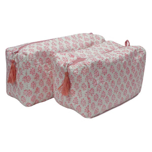 Block Print Cosmetic Bags - Booti Coral Pink (Set of 2)