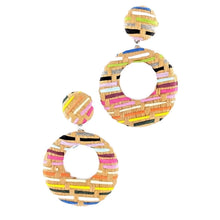 Load image into Gallery viewer, Multicolor Woven Circle Drop Earrings
