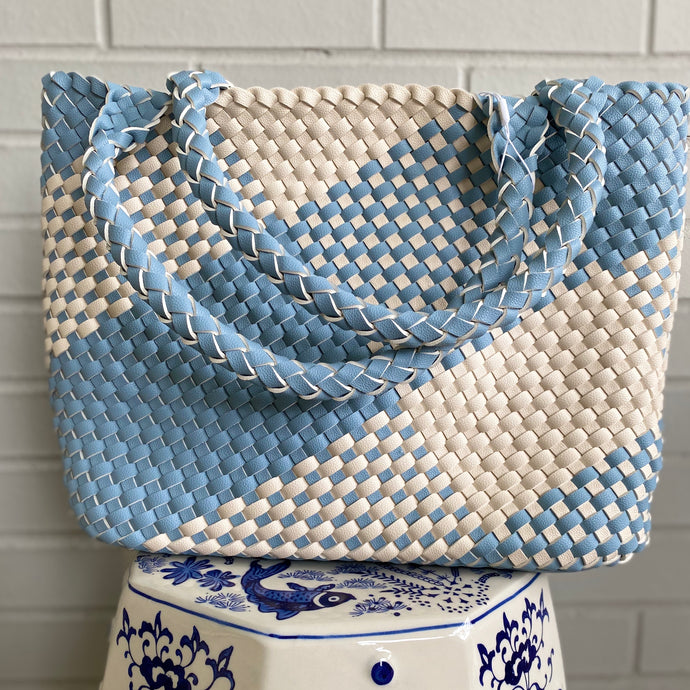 Sky Blue & Cream Gingham Tote Bag (Ships by 8/5)