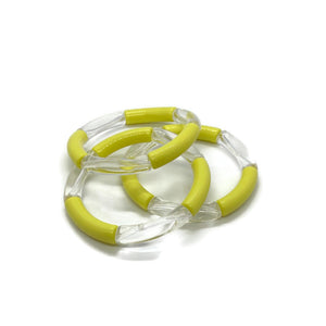 Bamboo Clear/Color Stretch Tube Bracelets (8 Color Options)