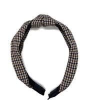 Load image into Gallery viewer, Brown Plaid Topknot Headband