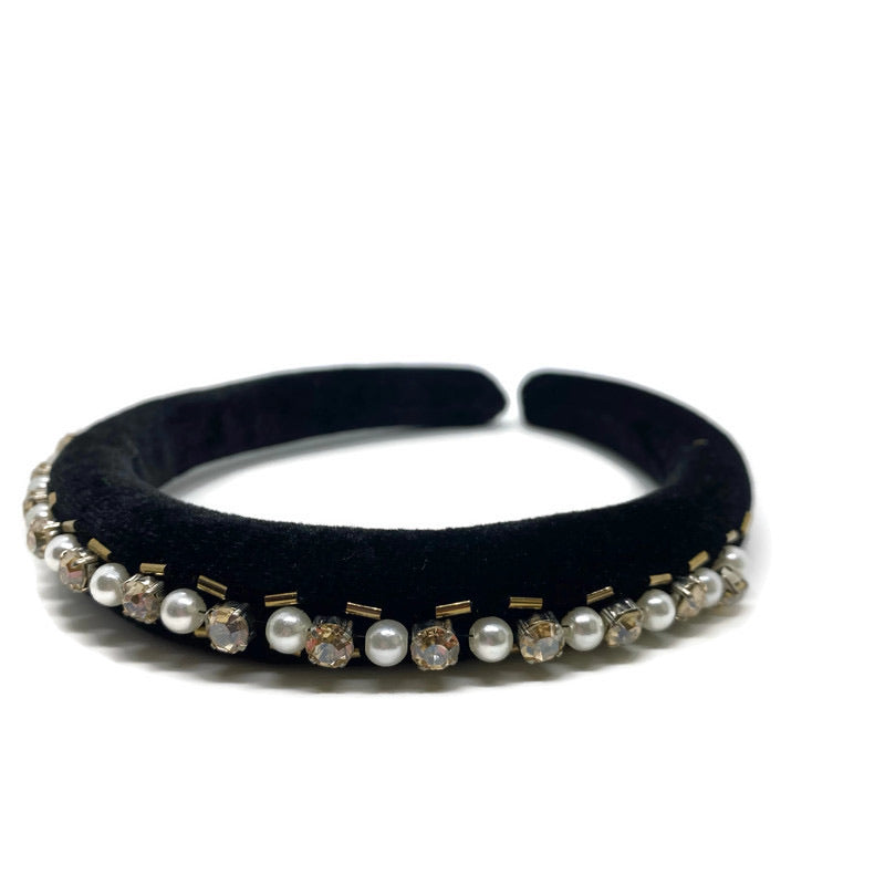 Black Velvet with Pearls Band Headband