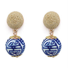 Load image into Gallery viewer, China Blue Thread Earrings