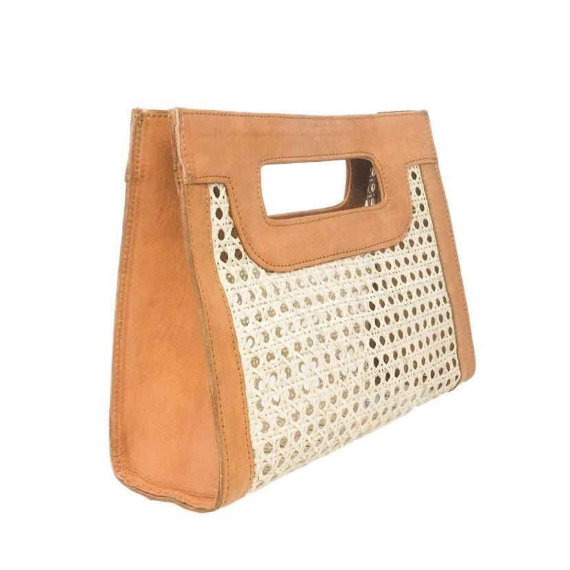 Kate Cane Clutch - Camel Leather