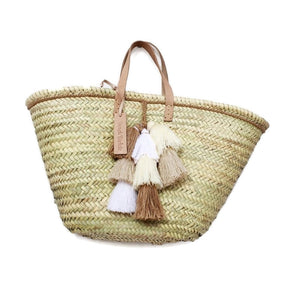Neutral Tassel Straw Beach Bag