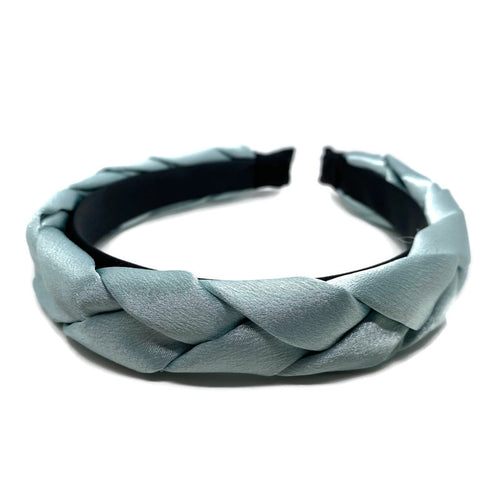 Sky Blue Satin Braided Headband
