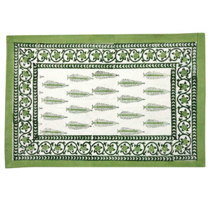 Tree Vineyard Block Print Cotton Placemats (Set of Two)
