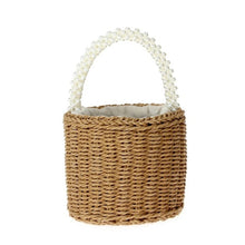 Load image into Gallery viewer, Pearl Handle Petite Straw Bucket Bag