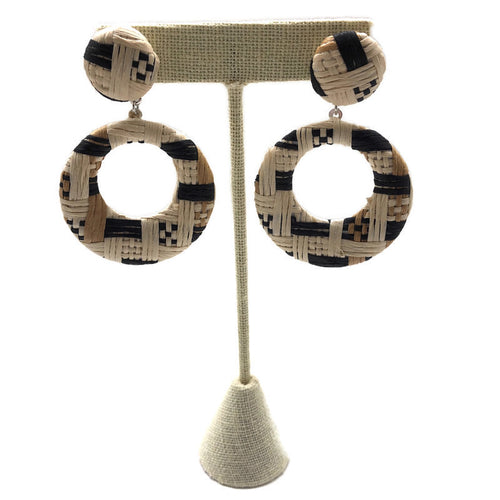 Neutral Woven Circle Drop Earrings