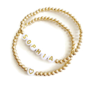 Gold Bracelet with Personalized Antique Letter Beads