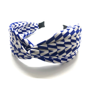 Blue and White Chevron Knot Headband