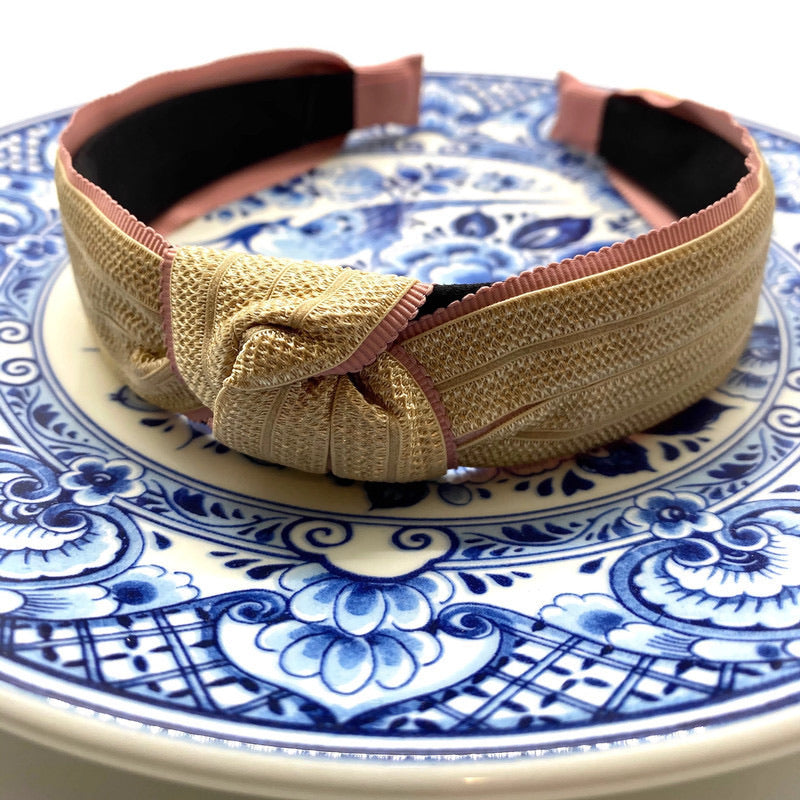 Woven with Ribbon Trim Topknot Headbands (2 Color Options)