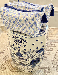 Block Print Cosmetic Bags - Booti Blue (Set of 2)